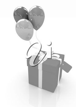 Gift box with balloon for summer on a white background