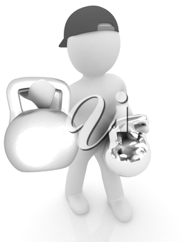 3d man with kettlebell. Bodybuilding. Lifting kettlebell on a white background