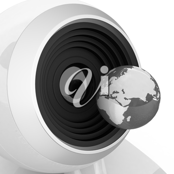 Web-cam and earth. Global on line concept on a white background