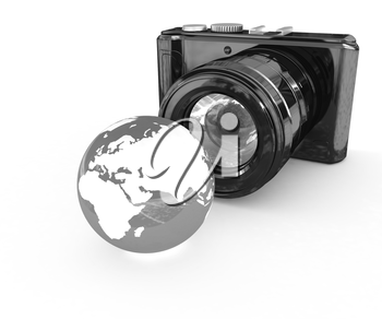 3d illustration of photographic camera and Earth on white background