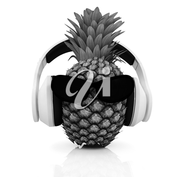 Pineapple with sun glass and headphones front face on a white background