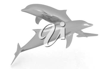 golden dolphin on a white background