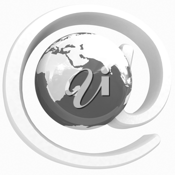 Glossy icon with mail for Earth on a white background