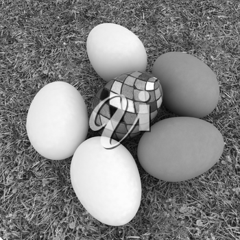 Eggs and easter eggs and grass