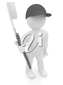 3d man with toothbrush on a white background