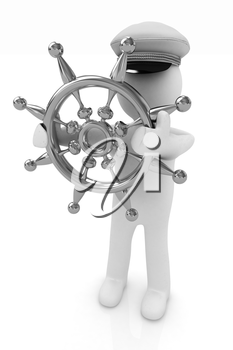 Sailor with gold steering wheel and earth. Trip around the world concept on a white background