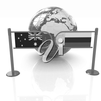 Three-dimensional image of the turnstile and flags of Russia and Australia on a white background