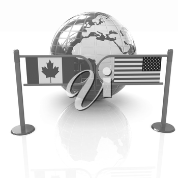 Three-dimensional image of the turnstile and flags of USA and Canada on a white background