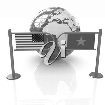 Three-dimensional image of the turnstile and flags of USA and Vietnam on a white background
