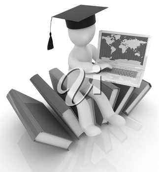 3d man in graduation hat sitting on books and working at his laptop on a white background