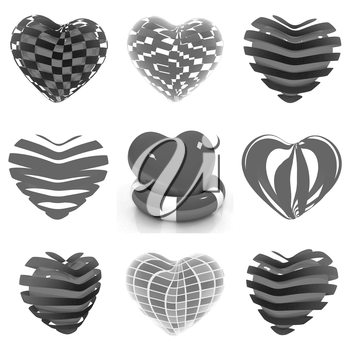 Set of 3d beautiful red heart on a white background
