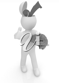 3d people - man with half head, brain and trumb up. Choice concept