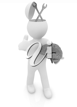3d people - man with half head, brain and trumb up. Service concept with wrench