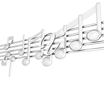 Various music notes on stave. Metall 3d