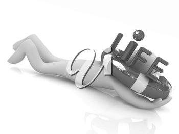 Man with life ring. 3d rendered illustration