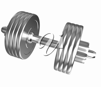 Gold dumbbells isolated on a white background