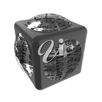 Sphere in a cube 3d design element
