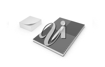 notepad with pen on a white