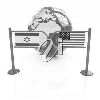 Three-dimensional image of the turnstile and flags of America and Israel on a white background
