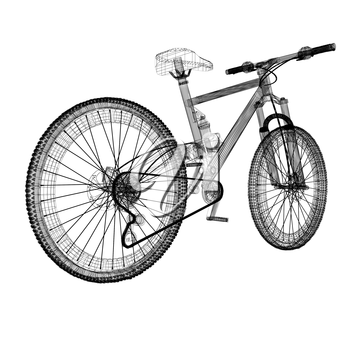 bicycle as a 3d wire frame object isolated