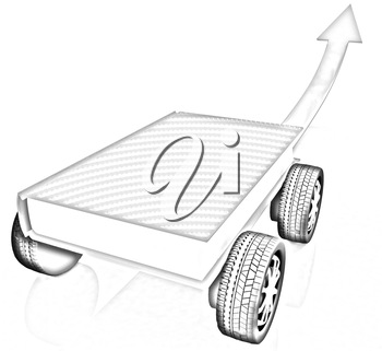 On race cars in the world of knowledge concept.
