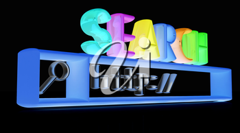 3d internet search string.Business and technology on a black background