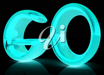 3d text go on a black background