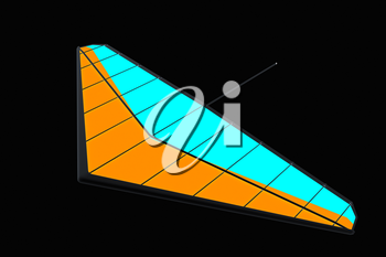 Hang glider isolated on a black background