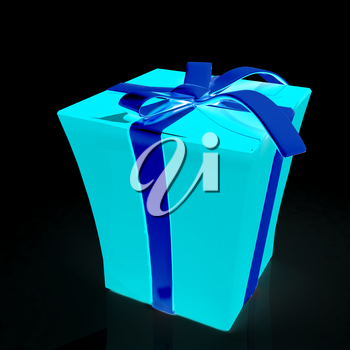 Gift withribbon on a black background.