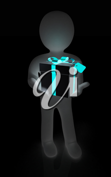 3d man and gift with red ribbon on a white background