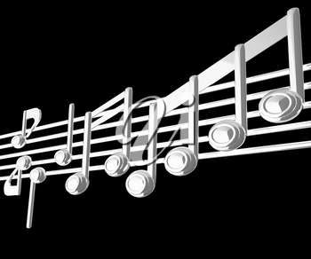 Various music notes on stave. Black 3d