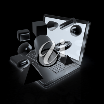 Powerful laptop specially for 3d graphics and software on a white background