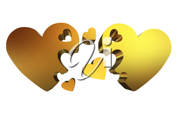 3d hearts family concept
