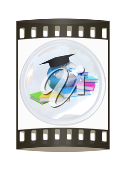 Global Education button on a white background. The film strip