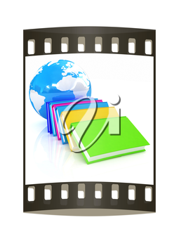colorful real books and Earth. The film strip