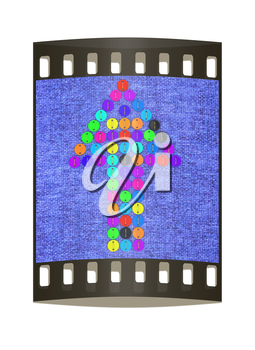colorful real button arrow sewn to the cloth. The film strip