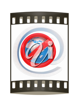 Global e-mail protection with prohibition of spam on a white background. The film strip