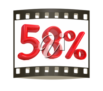 3d red 58 - fifty eight percent on a white background. The film strip