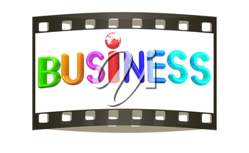 3d colorful text business on a white background. The film strip