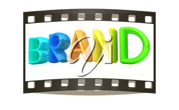 brand 3d colorful text on a white background. The film strip