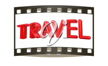 travel 3d red text on a white background. The film strip