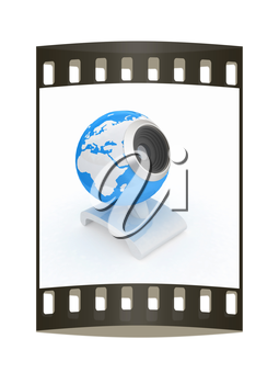 Web-cam for earth. Global on line concept on a white background. The film strip