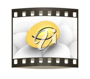 Gold egg among the usual with a symbol of Christianity ichthys(Jesus Christ is the Son of God Savior) on a white background. The film strip