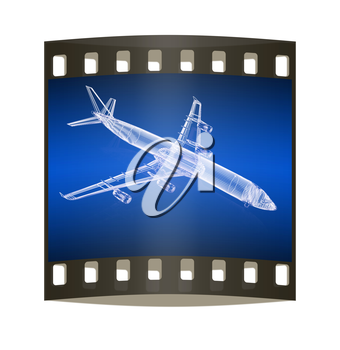 3d model Flying airplane on gradient background. The film strip