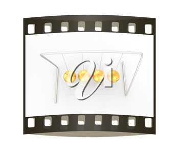 Gold Ball on a white background. The film strip