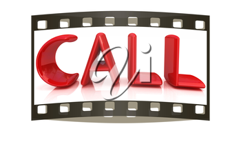 3d illustration of text 'call', search engine optimization symbol. The film strip