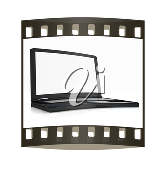 Laptop on a white background. The film strip