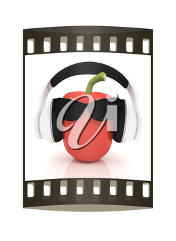 Bell peppers with sun glass and headphones front face on a white background. The film strip