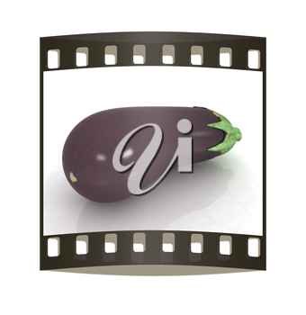 eggplant on a white background. The film strip