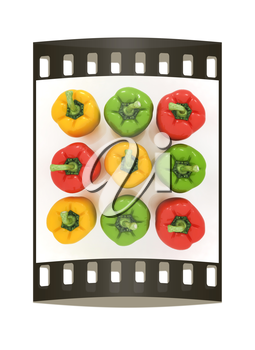 Bell peppers (bulgarian pepper) on a white background. The film strip